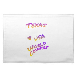 Texas world country, colorful text art placemat