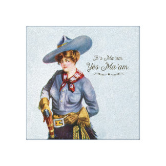 """Texas """"Yes Ma'am"""" Vintage Cowgirl Canvas Art Gallery Wrap Canvas"""