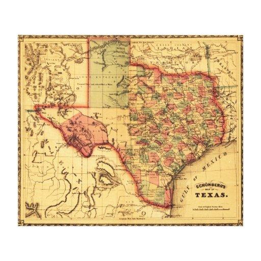 TexasPanoramic Map Canvas Print