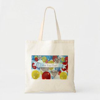 Text Added Sky Balloons Customizable Tote Bags