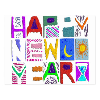 "Text Design ""Happy New Year"" Postcard"