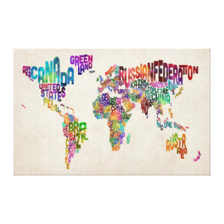 Text Map of the World Gallery Wrapped Canvas