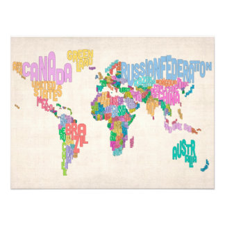 Text Map of the World Map Photo Art