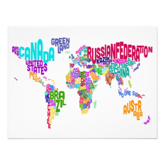 Text Map of the World Map Art Photo