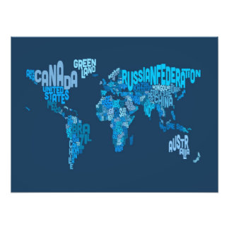 Text Map of the World Map Photograph