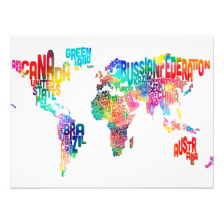 Text Map of the World Photo