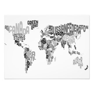 Text Map of the World Art Photo
