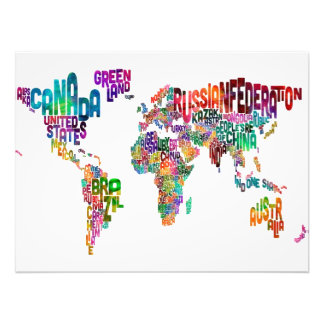Text Map of the World Photo Art