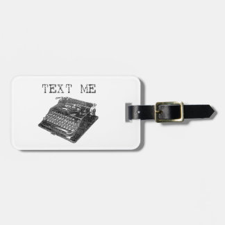 Text Me Antique Typewriter illustration Luggage Tag