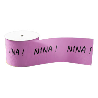 text name Nina pink background and black letters Grosgrain Ribbon