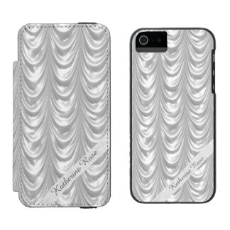 Text Template - Bridal White Ruched Satin Incipio Watson™ iPhone 5 Wallet Case