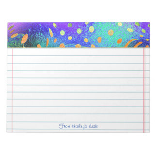 Text Template - Fractal - Orange, Purple, Teal Notepads
