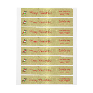 "Text Template, ""Merry Christmas"" on Shiny Gold Wraparound Return Address Label"