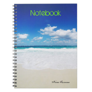 Text Template   Tropical Beach   Personal Name Spiral Notebooks