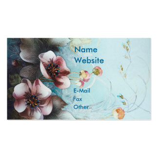 Textile Designs Pink Flowers Business Card Templates