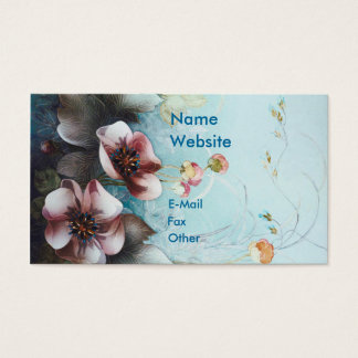 Textile Designs Pink  Flowers Business Card