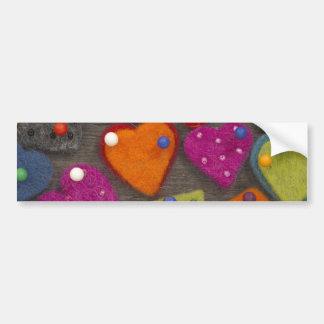 textile heart decoration bumper sticker