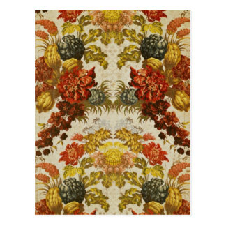 Textile with a repeating floral pattern postcard