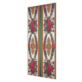 Textile with garlands of daisies gallery wrapped canvas
