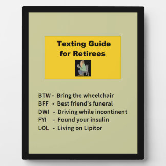 Texting Guide for Retirees Plaque