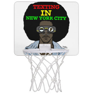 Texting In New York City basketball hoop