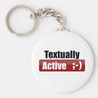 Textually Active Basic Round Button Key Ring