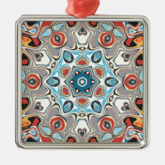 Textural Kaleidoscope Abstract Metal Ornament