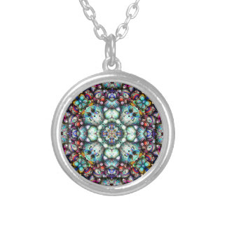 Textural Surfaces of Symmetry Silver Plated Necklace
