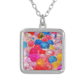 texture jelly balls silver plated necklace