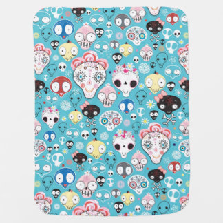 Texture laughing skull baby blanket
