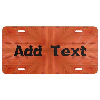 Texture orange wood pattern license plate