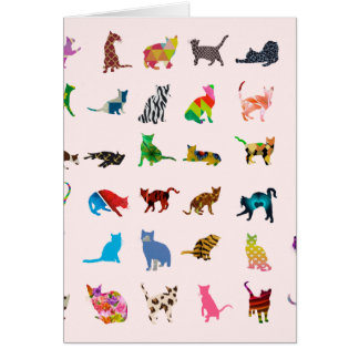Texture With Colorful Cats Card