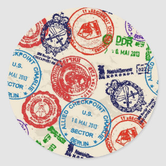 Texture with real stamps. round sticker