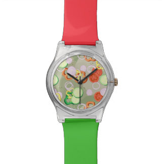 Texture With Slices Of Vegetables Watches