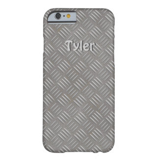 Textured Aluminum Look Faux Metal iphone Case Name Barely There iPhone 6 Case