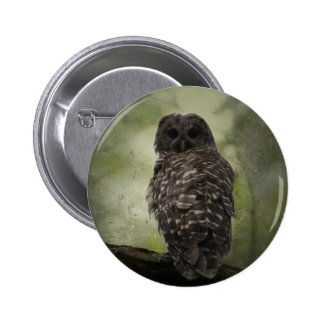 Textured Barred Owl Pinback Button