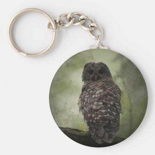 Textured Barred Owl Key Chain