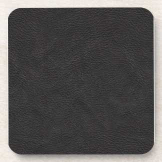 Textured Black Leather Coaster