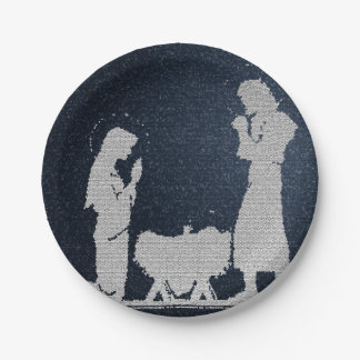 Textured Blue Nativity Paper Plate