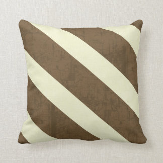 Textured Brown and Cream Stripe Throw Pillow