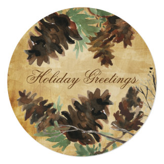 """Textured Brown Pine Cones Christmas Greeting Card 5.25"""" Square Invitation Card"""
