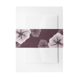 Textured Burgundy Floral Invitation Belly Band