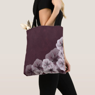 Textured Burgundy with Flowers Tote Bag