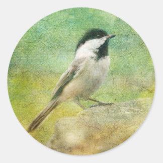 Textured Chickadee Round Sticker