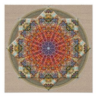 Textured Colorful Mandala Poster