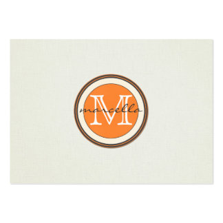 Textured Cream Background Orange Monogram Business Card Templates