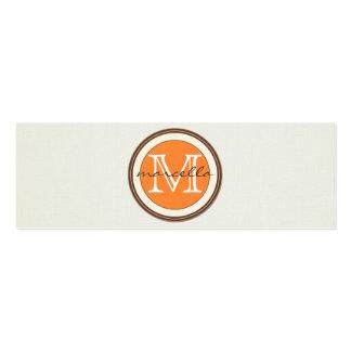 Textured Cream Background Orange Monogram Business Card Template