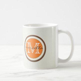 Textured Cream Background Orange Monogram Mugs