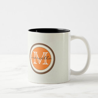 Textured Cream Background Orange Monogram Coffee Mug