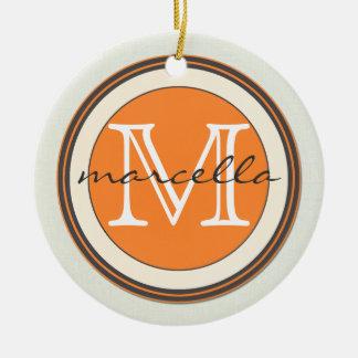 Textured Cream Background Orange Monogram Round Ceramic Decoration